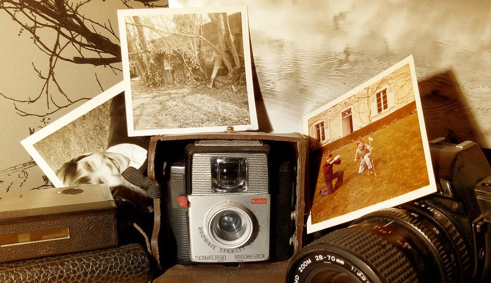 Portrait rapproché d'un Brownie Starlet Camera Kodak en mode photo vintage